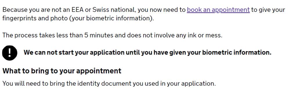 Скриншот: подтверждение отправленной заявки и пришлашение сдать биометрические данные
